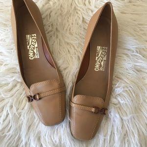 Salvatore Ferragamo Leather Buckle Heels